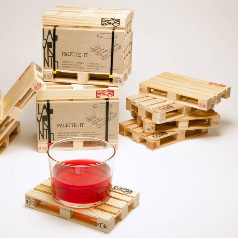 Palette it set de 4 sous verres en bois clin d 39 oeil aux - Set de table paillete ...