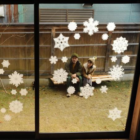 Mino on glass - couronne -décoration de vitre en papier japonais